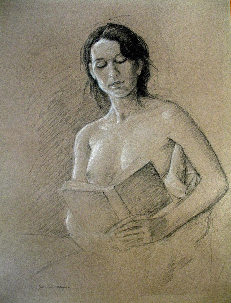 Girl Reading- pastel pencil on colored paper ( 18x24)